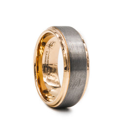 Tungsten Carbide men's wedding band with brushed center featuring a rose gold plated beveled edge and sleeve.