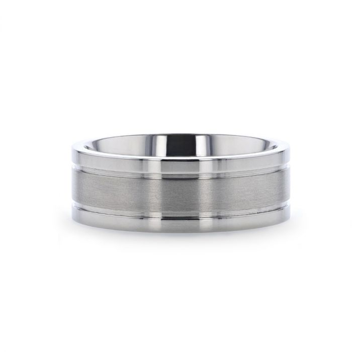 Titanium flat men's wedding ring with dual grooves, brushed center and polished edges.