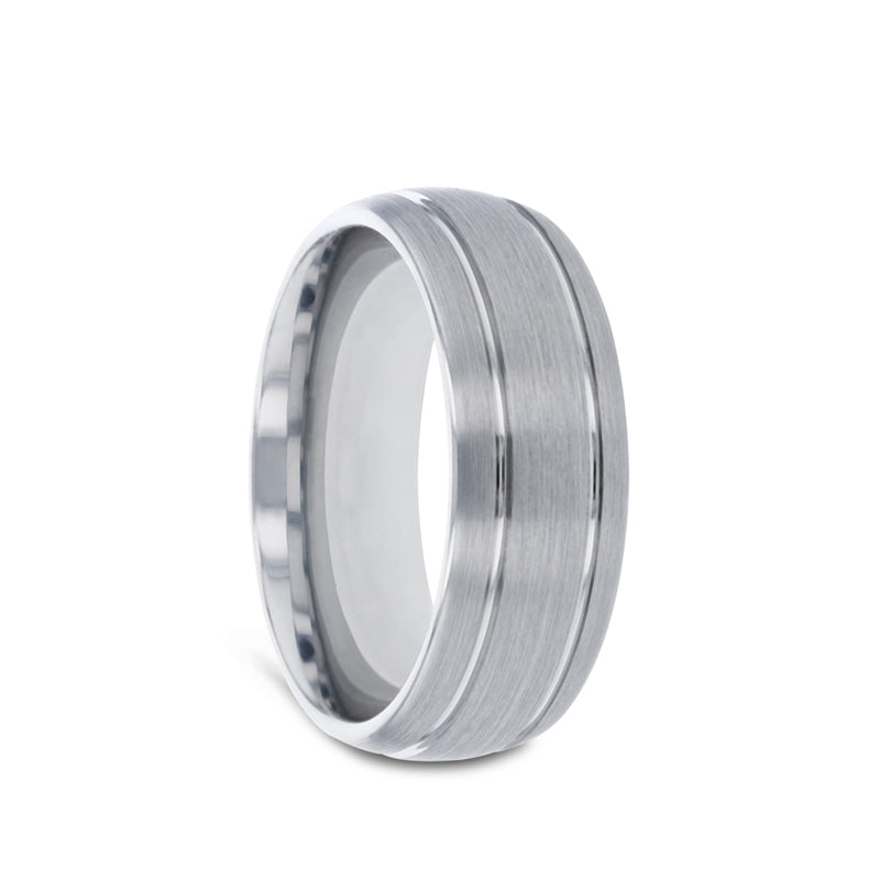 Tungsten Carbide men's wedding ring with domed design, dual grooves, and brushed center.