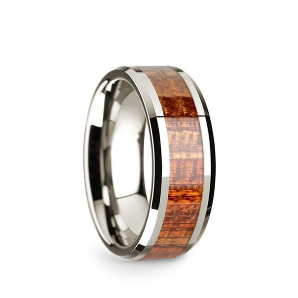 14K White Gold wedding band with mahogany wood inlay and beveled edges