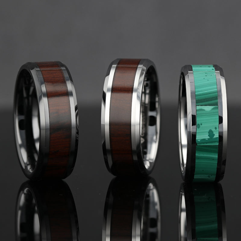 Tungsten Wedding band with beveled edges and malachite inlay