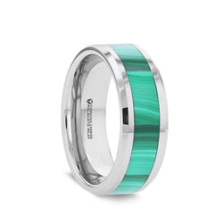 Tungsten men's wedding band with malachite inlay and beveled edges