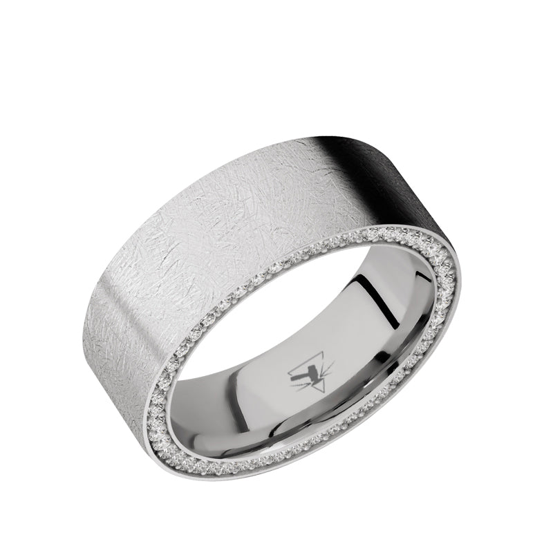Cobalt Chrome flat men's wedding band with a side eternity arrangement of lab grown .01 carat diamonds featuring a distressed finish.