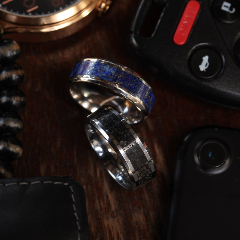 Titanium men's wedding ring with blue lapis lazuli inlay and beveled edges
