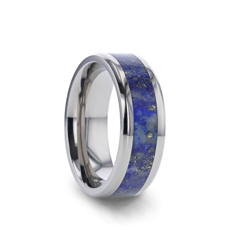 Titanium men's wedding ring with blue lapis lazuli inlay and beve