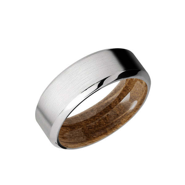 Cobalt Chrome men's wedding band with beveled edges featuring a whiskey barrel sleeve.