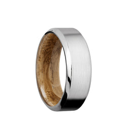 Cobalt Chrome men's wedding band with beveled edges featuring a whiskey barrel sleeve