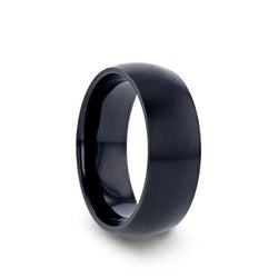 Black Titanium domed wedding ring with brushed finish.