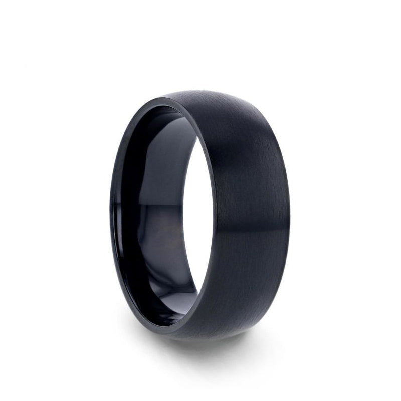 Black Titanium domed men's wedding ring with brushed finish