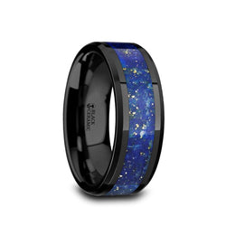 Black Ceramic men's wedding ring with lapis lazui inlay and beveled edges