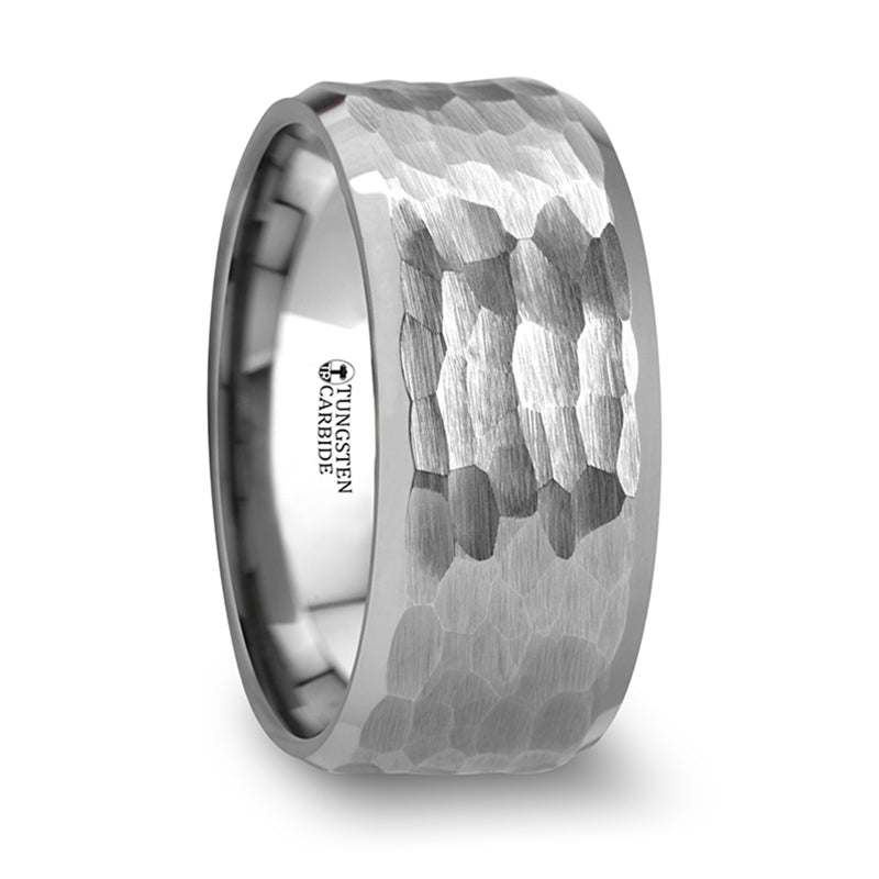 White Tungsten ring with hammered finish and polished bevels