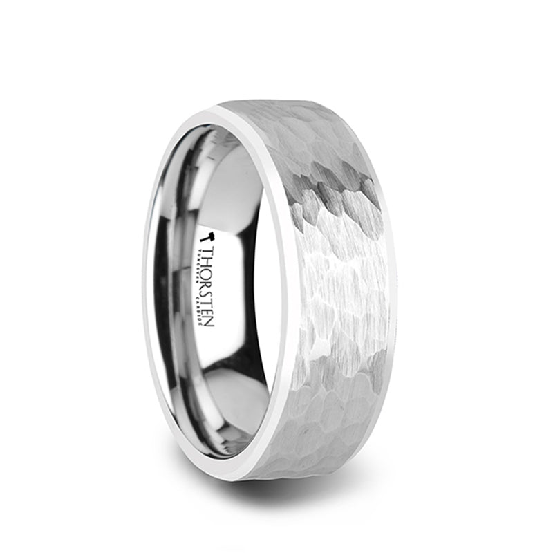 White Tungsten men's wedding ring with hammered finish and polished bevels