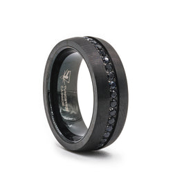 Black Tungsten men's wedding ring with an eternity of black sapphires, brushed finish and flat edges.