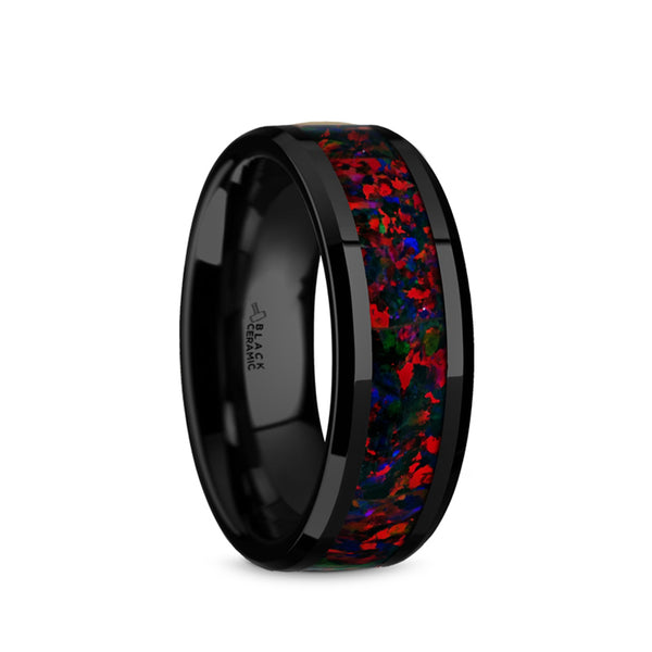 Ceramic men's wedding band with black and black opal inlay and beveled edges