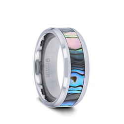 Tungsten wedding band with polished edges and mother of pearl inlay
