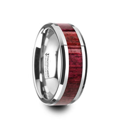 Tungsten Carbide men's wedding ring with purpleheart wood inlay and beveled edges