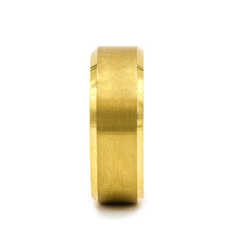 Gold Plated Tungsten men's wedding band with brushed center and beveled edges.