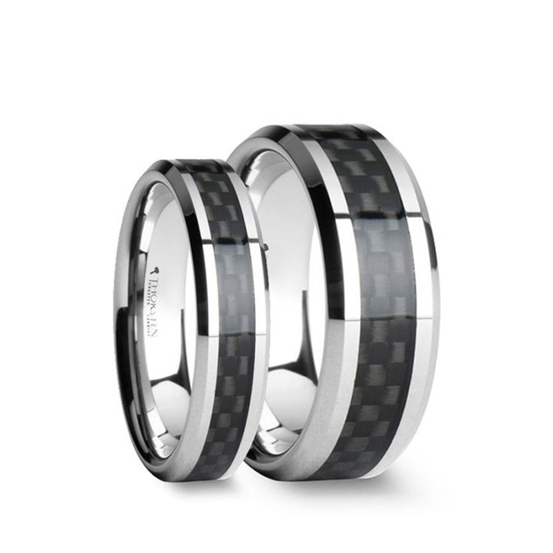 Tungsten matching wedding bands with a black carbon fiber inlay and beveled edges.