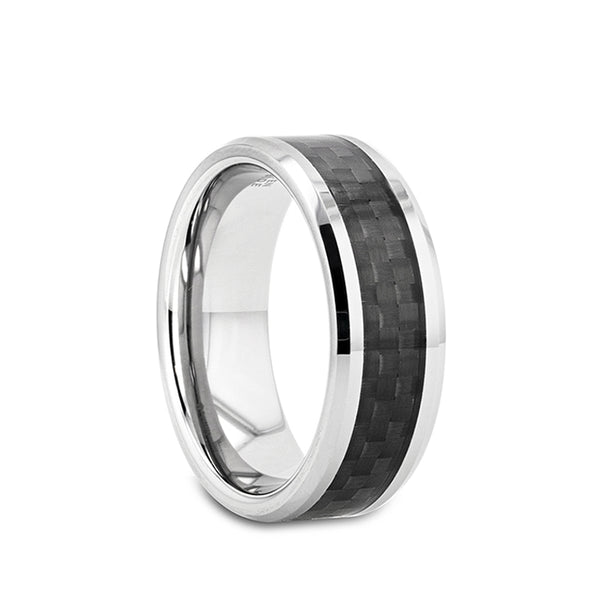 Tungsten wedding band with beveled edges and black carbon fiber inlay.