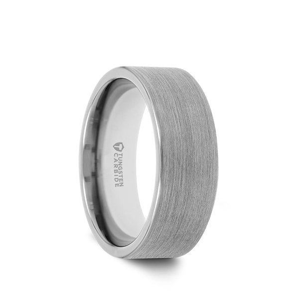 Tungsten flat men's wedding ring with brushed finish. Tungsten rings are one of the heaviest, most durable, scratch-resistant and affordable metals available. Perfect for the man with a heavy-duty career.