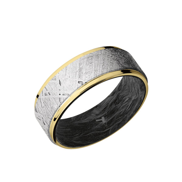 10K Yellow Gold men's wedding band with 6mm of raised meteorite inlay and flat, grooved edges featuring a forged carbon fiber sleeve.
