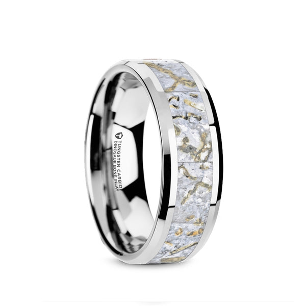 Tungsten men's wedding ring with white dinosaur bone inlay and beveled edges