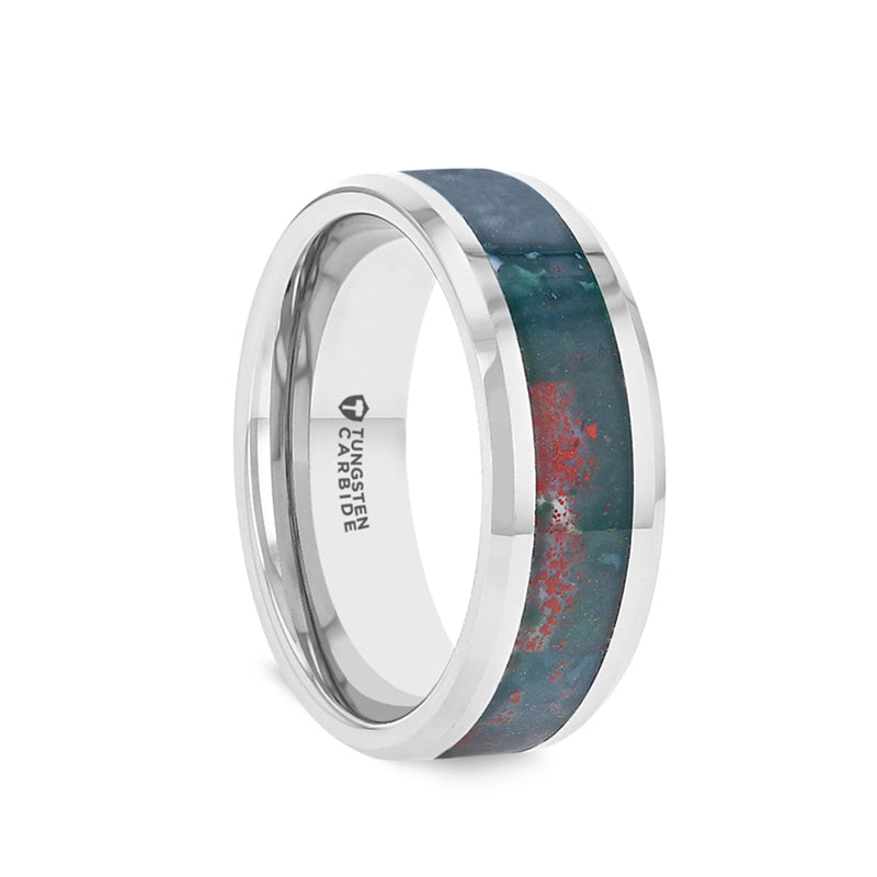 Tungsten men's wedding ring with bloodstone inlay and beveled edges