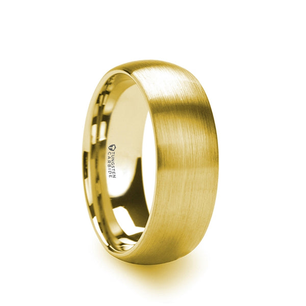 Gold Plated Tungsten Carbide domed men's wedding ring with brushed finish