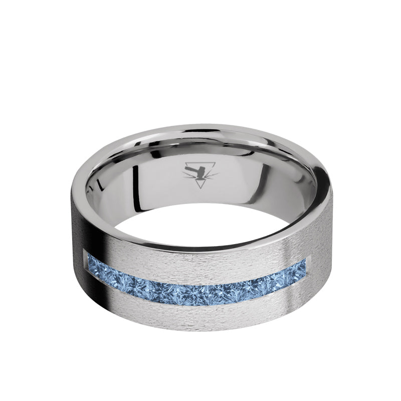 Cobalt Chrome flat men's wedding band with a channel of 9 square cut .06 carat denim sapphires featuring a stone finish