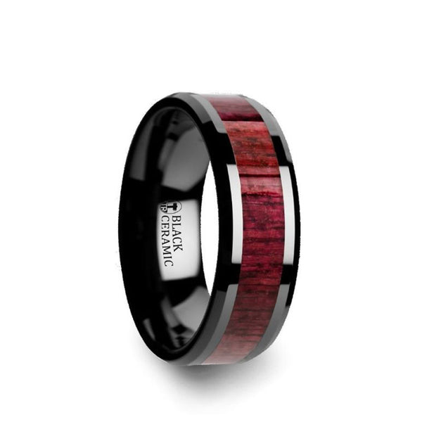 Black Ceramic men's wedding ring with purple heart wood inlay and beveled edges
