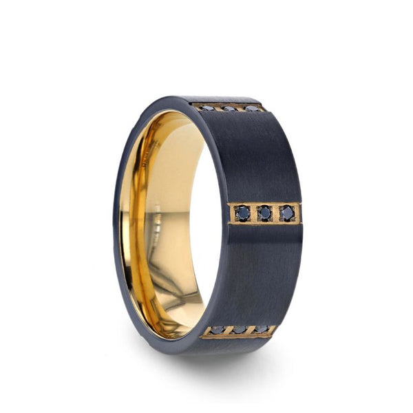 Black Titanium flat wedding band with gold plated interior, 6 gold plated bezels, triple black diamond settings and brushed finish.