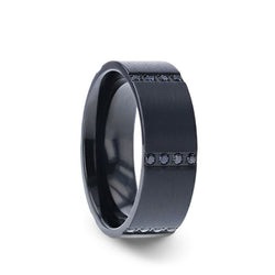 Black Titanium flat men's wedding band with a brushed finish and 6 sets of quadruple black sapphires in horizontal channels.