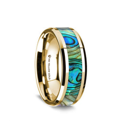 14K Gold wedding band with mother of pearl inlay and beveled edges.