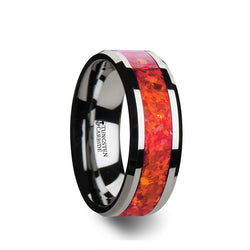 Tungsten men's wedding ring with red opal inlay and beveled edges