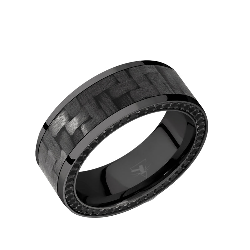 Black Zirconium flat men's wedding band with a side eternity arrangement of ethically sourced .01 carat black diamonds featuring 6mm of forged carbon fiber or black carbon fiber with polished edges.