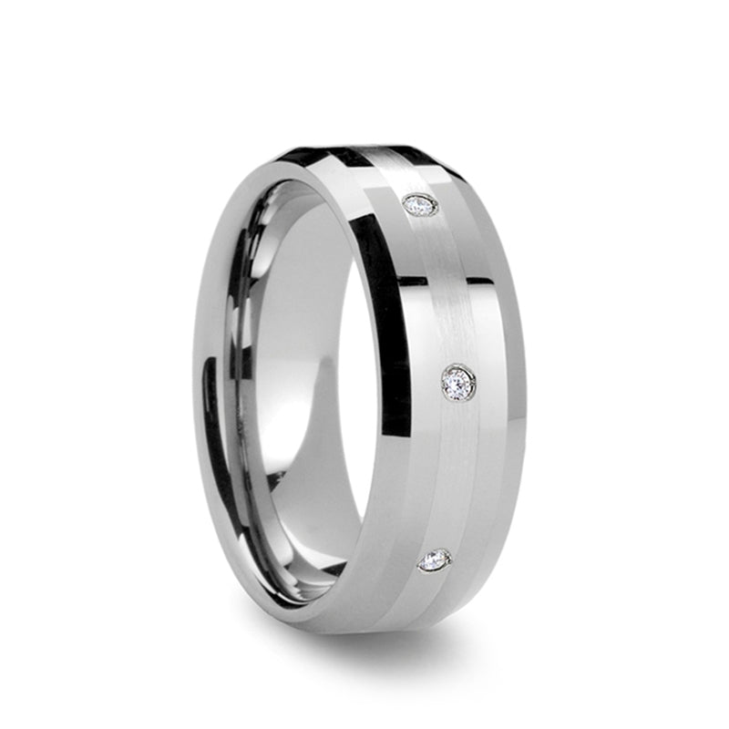 Tungsten Carbide men's wedding ring with platinum inlay set with diamonds and beveled edges.