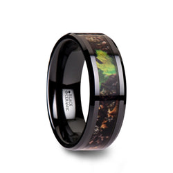 Black Ceramic men's wedding ring with camouflage inlay and beveled edges