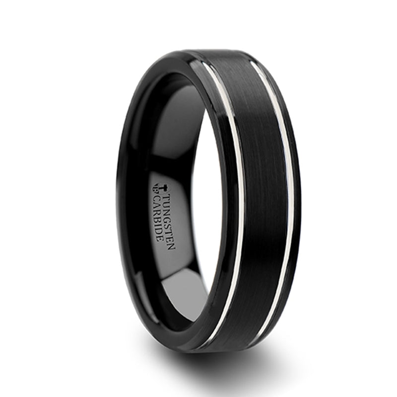 Tungsten Carbide wedding ring with brushed finish, beveled edges and polished grooves