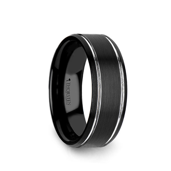 Tungsten Carbide men's wedding ring with polished grooves, brushed finish and beveled edges
