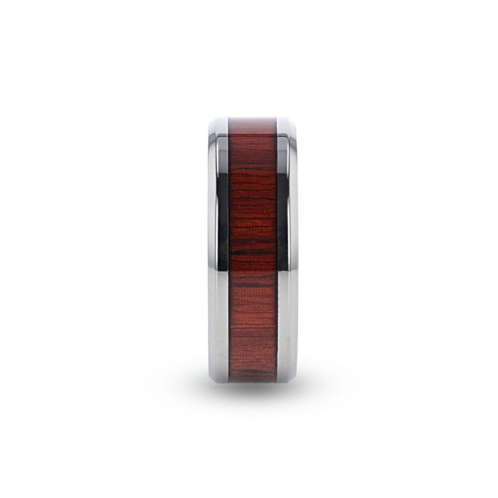 Titanium men's wedding ring with padauk wood inlay and beveled edges