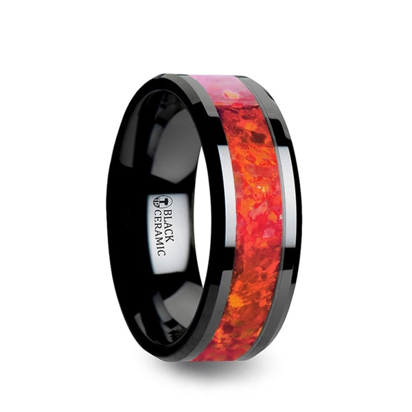 Black Ceramic men's wedding band with red opal inlay and beveled edges