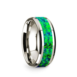 14K White Gold men's wedding band with blue and green opal inlay and beveled edges.