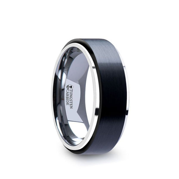 Tungsten men's wedding band with ceramic raised center and brushed finish.