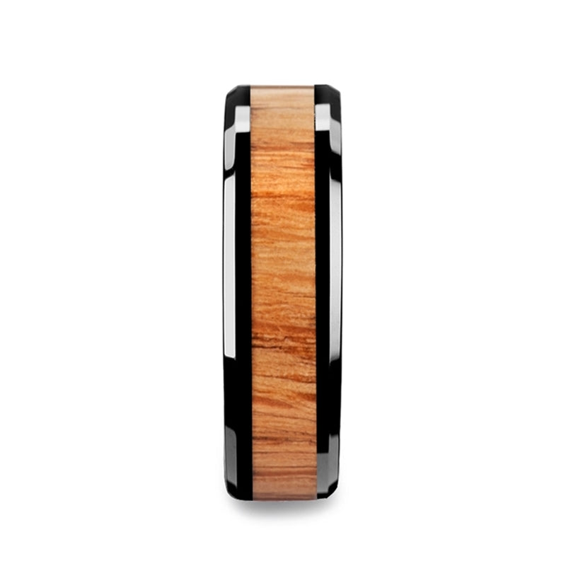 Black Ceramic men's wedding ring with red oak wood inlay and beveled edges