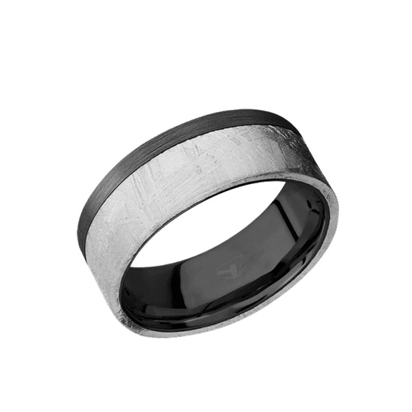 Black Zirconium flat men's wedding band with 5mm of meteorite inlay and brushed finish.