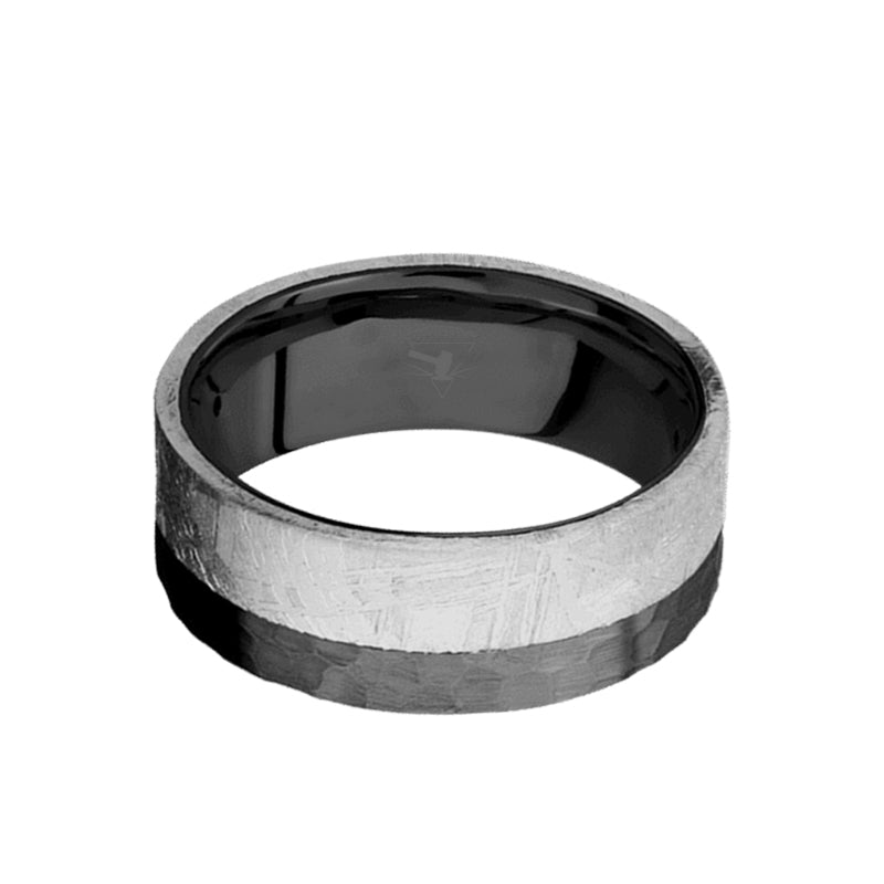 Black Zirconium flat men's wedding band with 5mm of meteorite inlay and hammered or brushed finish.