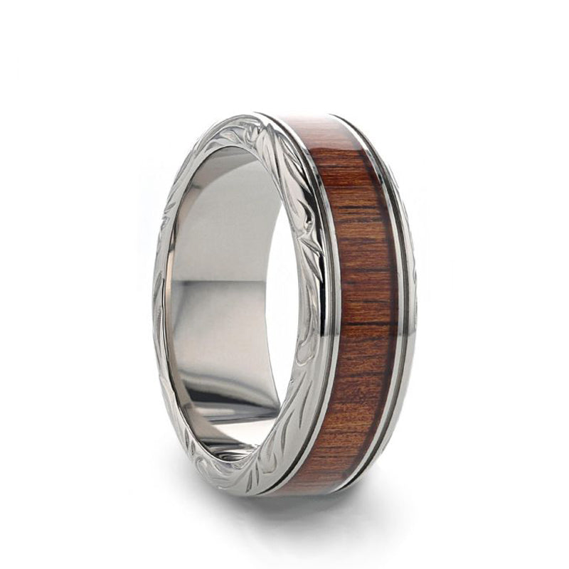 Titanium men's wedding ring with rare koa wood inlay and intricate edge design