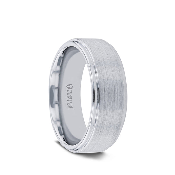 Tungsten men's wedding ring with raised, brushed center and polished step edges.