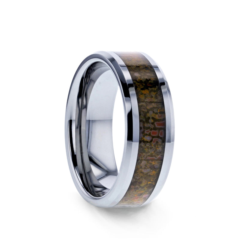 Tungsten men's wedding band with brown dinosaur bone inlay and beveled edges.