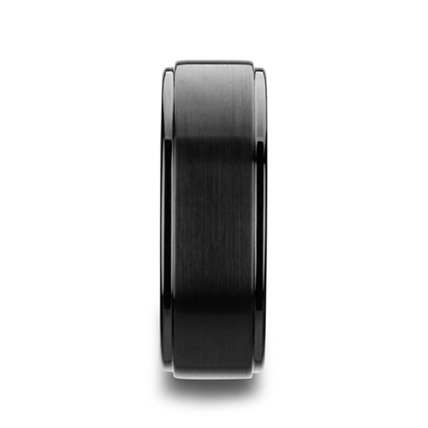 Tungsten Carbide flat wedding ring with raised brushed center and polished edges